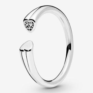 🍓Pandora Polished and Sparkling Hearts Open Ring